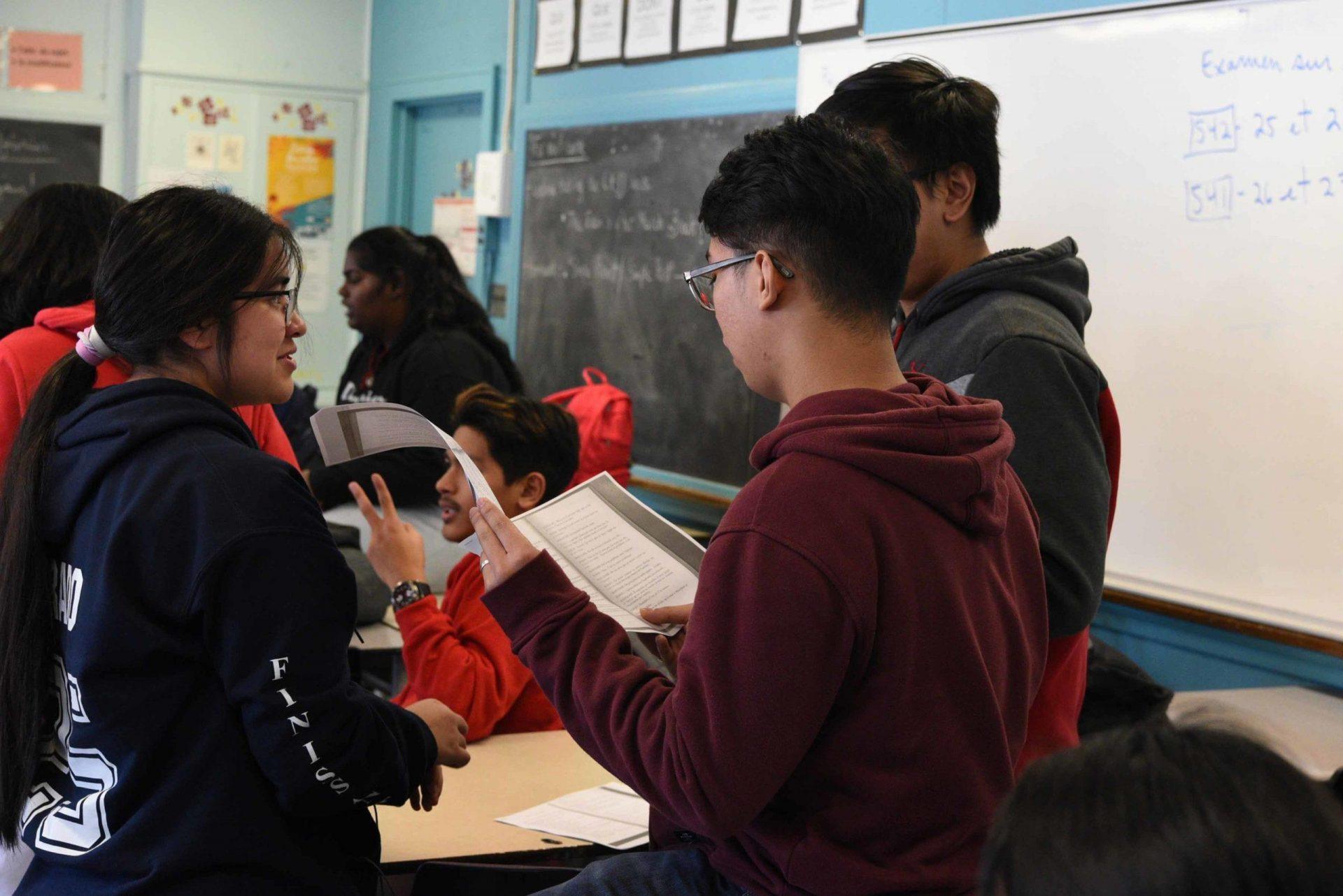 Étudiants participant à une initiative éducative financée par la Fondation Duceppe.